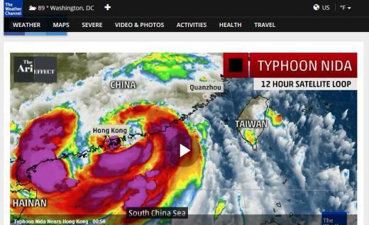 홍콩 태풍 '니다'. /사진=미국 웨더채널 캡처