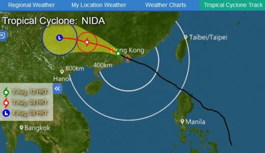 홍콩 증시 휴장. 사진은 태풍 '니다' 경로. /사진=홍콩 기상대