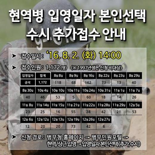 병무청 입영일자 본인선택 추가접수. /자료=병무청