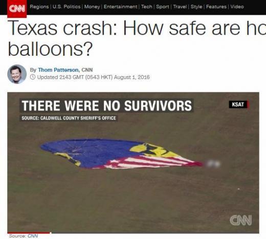 미국 열기구 사고. /자료=CNN방송 캡처