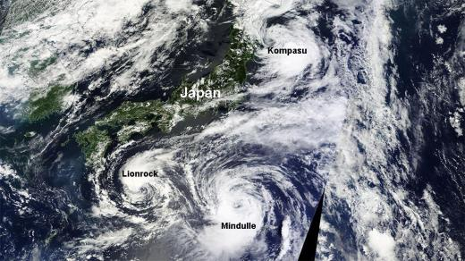 일본 태풍 경로. 민들레. /사진=미국 항공우주국 위성사진