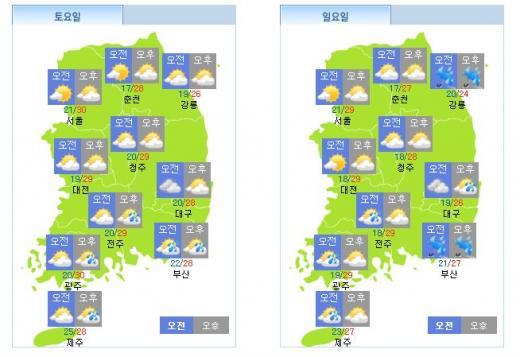 주말날씨. 토요일(왼쪽), 일요일 날씨. /자료=기상청