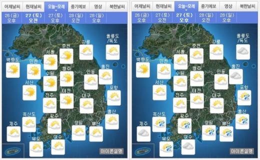 내일(27일) 오전(왼쪽),오후 날씨. /자료=기상청