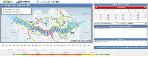 서울시 7개 자동차전용도로 정보를 확인할 수 있는 서울교통정보 예보 홈페이지. /자료=서울시