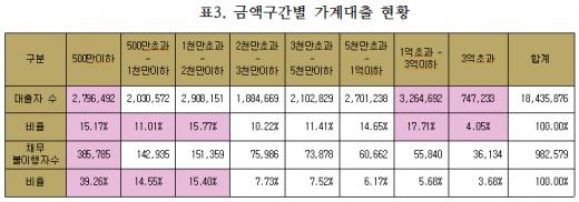 금액구간별 가계대출 현황. /자료=채이배 의원실