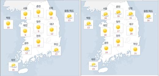 9일 오전(왼쪽), 오후 날씨.