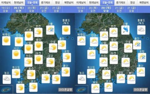 오늘(20일) 오전·오후 날씨. /자료=기상청