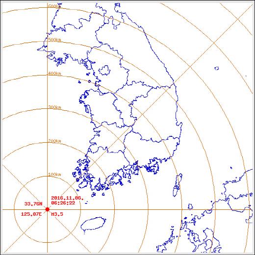 전남 신안 규모 3.5의 지진 발생. /자료=기상청