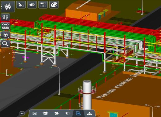 현대엔지니어링의 플랜트 공사 '모바일 3D 화면'. 배관 용도에 따라 각각 다른 색으로 표현됐다. /사진=현대엔지니어링
