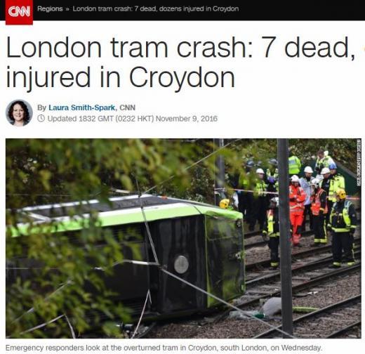 영국 트램 사고. /자료=CNN 방송화면 캡처