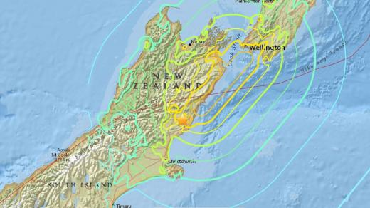 뉴질랜드 지진. /자료=미국지질조사국(USGS)