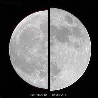 슈퍼문. 일반 보름달(왼쪽)과 슈퍼문. /사진=위키미디어