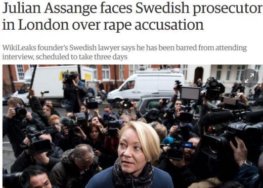 어산지. 성폭행 수사. 사진은 14일(현지시간) 영국 런던 에콰도르 대사관에 줄리언 어산지를 조사하기 위해 나타난 스웨덴 검사. /자료사진=영국 가디언 캡처