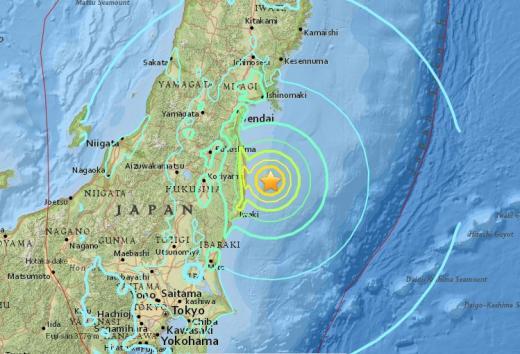 일본 지진 후쿠시마 지진. /자료=미국 지질조사국