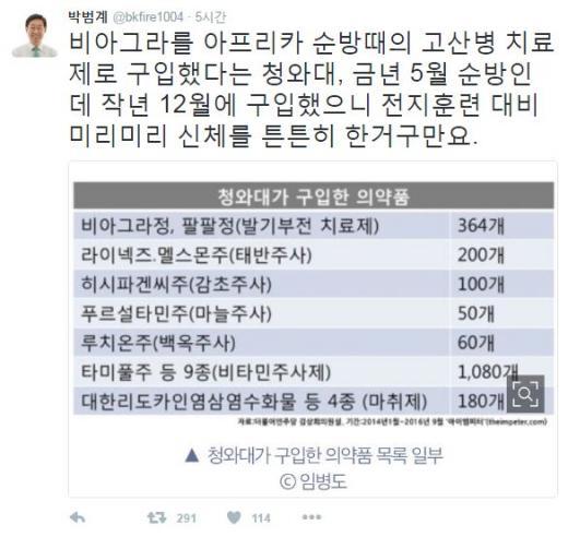 청와대 비아그라. /자료=박범계 트위터 캡처
