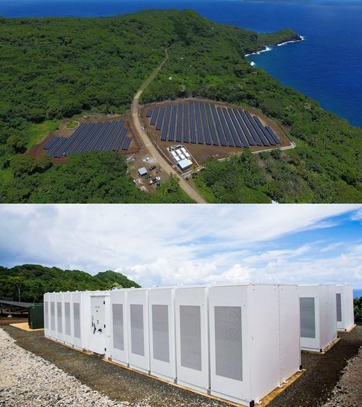 솔라시티가 '타우'(Ta'u)섬에 설치한 태양광패널(위)과 배터리. /자료사진=솔라시티 블로그