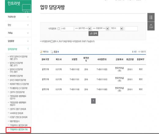 협회 홈페이지 기계설비리스 물건정보 조회 결과 화면(예시). /사진=여신금융협회