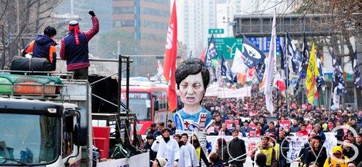 [머니S포토] 민주노총 총파업, '투쟁외치며 행진하는 이들'
