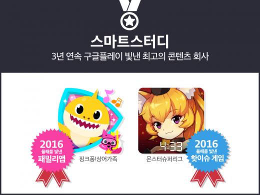 스마트스터디 '핑크퐁 상어가족'·'몬스터슈퍼리그', 구글플레이 베스트 콘텐츠 선정