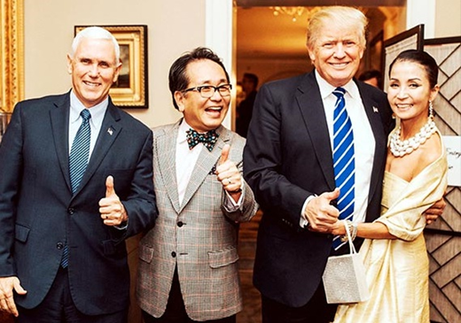 왼쪽부터 마이크 펜스 부통령 당선인, 최민기씨, 트럼프 당선인, 원혜경씨. /사진제공=코디엠