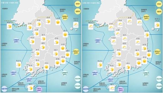 2017년 1월1일 오전(왼쪽), 오후 날씨. /제공=기상청