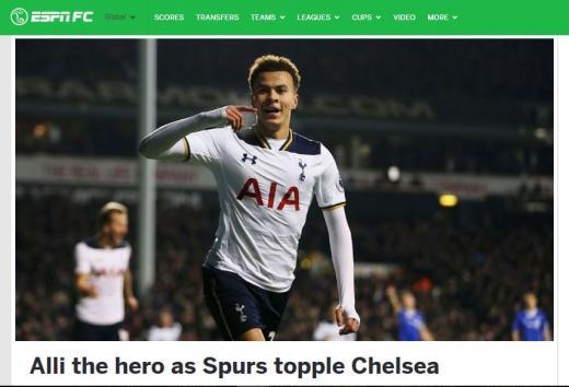 토트넘 첼시 손흥민. 득점 후 기뻐하는 토트넘의 델레 알리. /사진=미국 ESPN 캡처