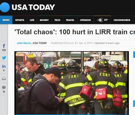 뉴욕 열차사고. /사진=미국 USA투데이 캡처