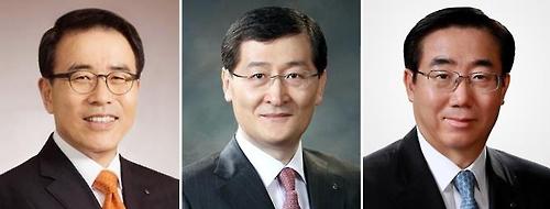 (왼쪽부터) 조용병 신한은행 은행장, 위성호 신한카드 사장, 최방길 전 신한BNP파리바자산운용 사장/사진=신한금융