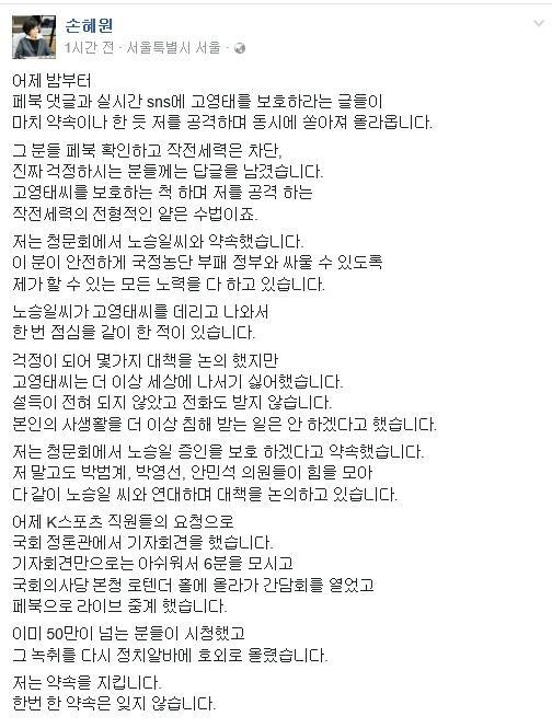 사진=손혜원 더불어민주당 의원 페이스북 캡처