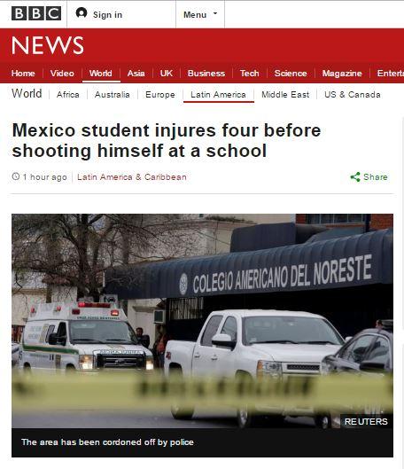 멕시코 미국계 사립학교서 총격. /자료=영국 BBC 방송화면 캡처