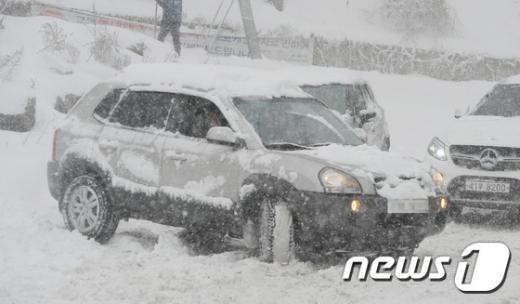 강릉, 속초. 오늘(20일) 강원 강릉시 교동 일대 도로에서 눈 때문에 주행을 포기한 차량들이 뒤엉켜 있다. /사진=뉴스1