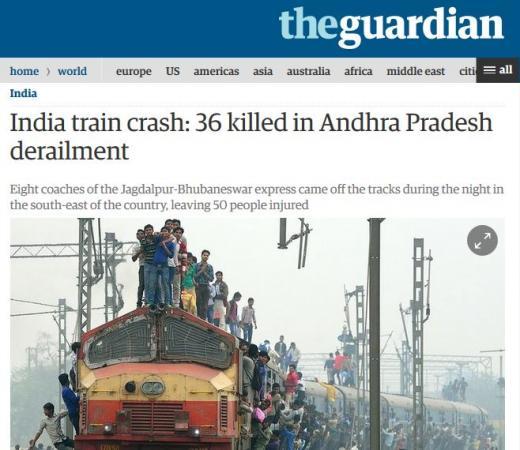 인도 열차사고 탈선사고. /자료사진=영국 가디언 캡처
