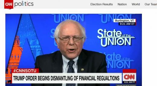 샌더스 트럼프. 버니 샌더스 미국 버몬트주 상원의원이 5일(현지시간) 미국 케이블채널 CNN과의 인터뷰에서 트럼프의 경제부처장 인선을 강하게 비판했다. /사진=미국 CNN 캡처