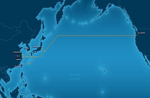신규 태평양 횡단 해저케이블 루트도. /사진=KT 서브마린