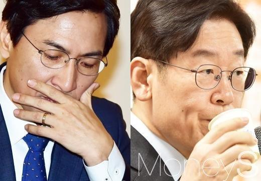 민주당 토론. 안희정 충남도지사(왼쪽)와 이재명 성남시장. /사진=임한별 기자