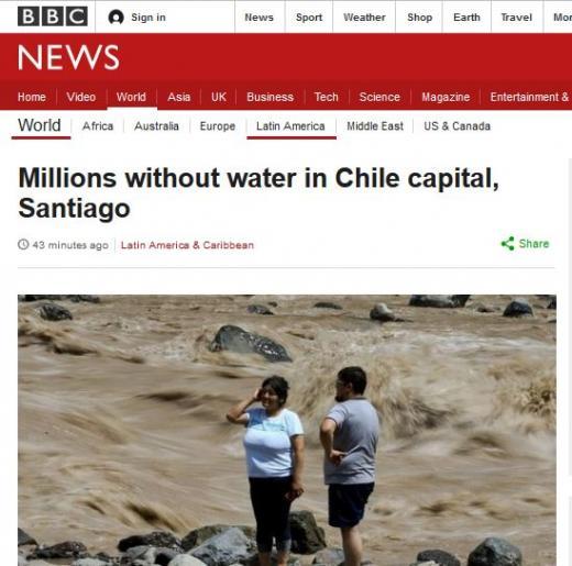 칠레 폭우로 홍수 산사태. /사진=영국 BBC 캡처