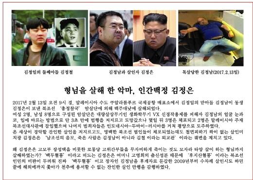 <그것이 알고싶다>가 4일 방송에서 김정남 암살 사건 미스터리를 다룬다. 사진은 자유북한운동연합이 이달 중순부터 살포 예정인 김정남 암살 규탄 대북전단. /사진=자유북한운동연합