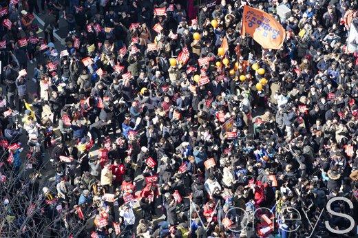 촛불 11일. 오늘(11일) 서울 종로구 안국역 사거리. /사진=사진공동취재단