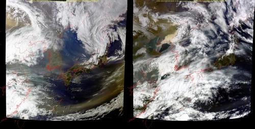 중국 황사. 지난19일 영상(왼쪽)과 20일 영상(오른쪽). 노란색깔 대기를 통해 황사 이동 모습을 확인할 수 있다./자료=한국해양과학기술원