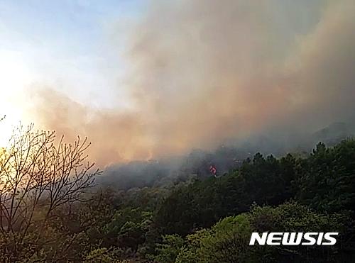 괴산 성불산 산불. /사진=뉴시스(괴산소방서 제공)