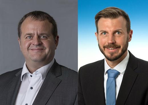요한 헤겔 아우디폭스바겐 신임 이사(왼쪽)과 마틴 바 신임이사. /제공=아우디폭스바겐코리아