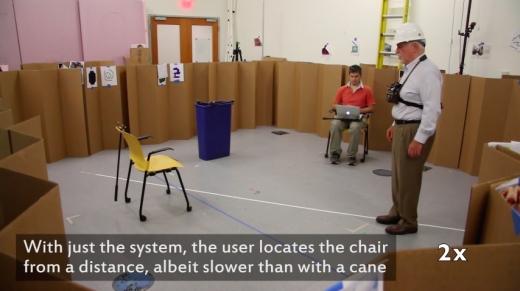 MIT연구진이 시각장애인용 웨어러블 기기를 선보였다고 미국 IT전문매체 매셔블이 4일(현지시간) 보도했다. /사진=유튜브 캡쳐