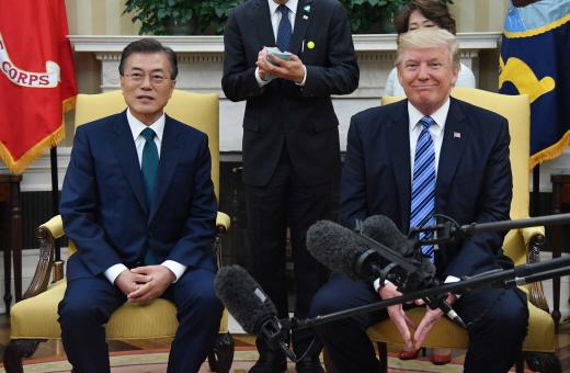 문재인 대통령은 지난달 30일(현지시간) 미국 워싱턴 백악관에서 도널드 트럼프 미 대통령과 한미정상회담을 진행했다. /사진=뉴시스 전신 기자