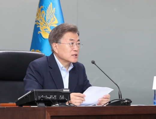 북한 미사일 발사. 문재인 대통령이 4일 청와대에서 국가안전보장회의(NSC) 전체회의를 주재하고 있다. /사진=뉴시스