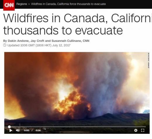 캐나다 산불. /자료=CNN 홈페이지 캡처