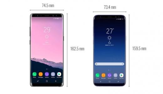 갤럭시노트8(좌)과 갤럭시S8플러스 사이즈 비교. /사진=폰아레나
