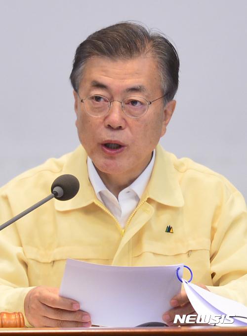 북한 을지훈련. 문재인 대통령이 21일 청와대에서 주재한 을지국무회의에서 모두발언을 하고 있다. /사진=뉴시스