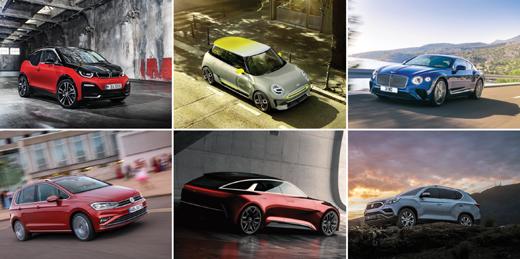 (왼쪽부터)BMW 뉴 i3s, MINI 일렉트릭 콘셉트, 벤틀리 3세대 컨티넨탈 GT, 폭스바겐 골프 스포츠밴, 기아자동차 KED-12 콘셉트, 쌍용자동차 G4 렉스턴. /사진제공=각 사