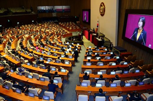 이정미. 이정미 정의당 대표가 11일 국회 본회의에서 비교섭단체 대표연설을 하고 있다. /사진=뉴시스