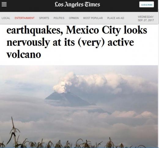 멕시코시티 인근 화산이 분화해 재난에 대한 우려가 커지고 있다. /사진=미국 LA타임즈 캡처